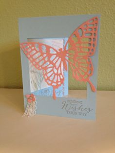 Stamped with Butterfly Basics and die cut with Butterflies thinlits from Occasions 2015 SU catalog.