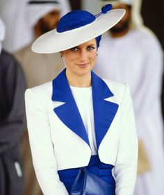 Princess Diana looked absolutely flawless in a white and cobalt pairing, complete with a turban-inspired topper, while touring Dubai in March 1989.
