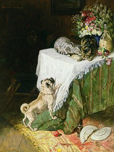Cat Painting - The Mischievous Tabbies by Clemence Nielssen