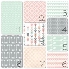Nursery Bedding Set Pink Grey Peach Mint Arrows by 3LollipopGirls