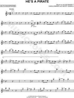 Print and download He's a Pirate sheet music from Pirates of the Caribbean: The Curse of the Black Pearl arranged for Alto Saxophone. Instrumental Solo in D Minor.