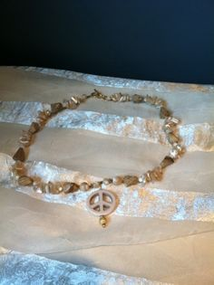 Peaceful Earth Peace Sign Necklace With Peach Selenite & Tigers Eye by NorthCoastCottage
