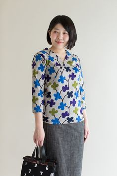 3/4 Sleeve Tops Playing with Flowers Cotton : SOU • SOU US Online Store