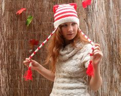 Knitted Striped Kitty Hat with Cat Ears  Made to by MissMinoes, €30.00