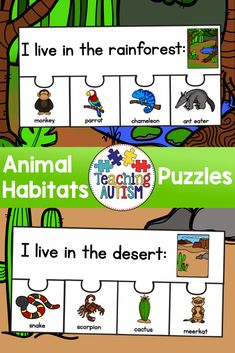 This resource contains 5 different puzzles / habitats. These puzzles are a great way for you to introduce and reflect upon animal habitats in your teaching. Simply cut out each of the jigsaw pieces and laminate (this will keep them strong and longer lasting and students match the animals/objects to the correct habitat. Habitats included are: ♦ desert ♦ ocean ♦ arctic ♦ rainforest ♦ pond Each puzzle comes with 4 animals/nature piece. Each puzzle piece has an image and the name of that image