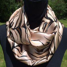 Zebra print infinity silky scarf loop scarf circle by SissyandTodo