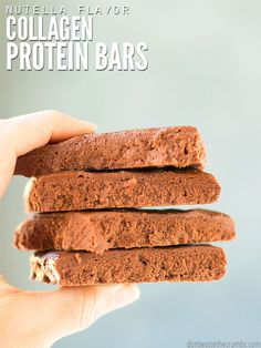 If you loved bulletproof bars, make these healthy collagen protein bars instead. My favorite is Nutella, but you can make vanilla or peanut butter too! Vegan Protein Sources, Vegan Protein Bars, Healthy Protein Snacks, Protein Foods, High Protein, Protein Recipes, Protein Cake, Protein Muffins, Protein Cookies