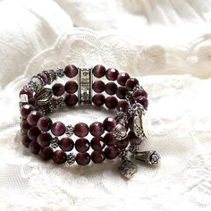 Memory wire bracelet w/a variety of bead treatment.