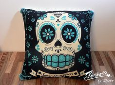 Sugar Skull Pillow  Turquoise  Calaca Day of the Dead  by Ganbatte, $24.00