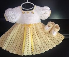 Crochet Cotton Baby Dress Booties yellow and white