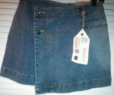 Junior Ladies Wrap Denim Jean Mini Skirt Size Small by Apollo Jeans