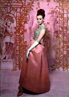 Givenchy's rose silk faille evening gown with embroidered top of blue and rose paillettes. Photo by Roland de Vassal for 'L'Officiel', 1962
