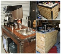 This Pallet-Clad Espresso Cart only cost about 100 dollars! Made from mostly repurposed materials and clad in angle-steel, this cart could be in the most expensive of espresso and coffee shops – or your kitchen! How I made this Pallet-Clad… 1001 Pallets, Recycled Pallets, Wood Pallets, Pallet Wood, Recycled Materials, Coffee Carts, Coffee Shops, Coffe Bar, Coffee Truck