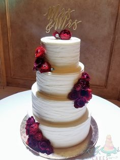 Romantic deep red flowers accentuate the texture of this cake. Mrs & Mrs picked the perfect design for their wedding at Prohibition Theater. Beautiful Wedding Cakes, Red Flowers, Theater, Cake Recipes, Romantic, Deep, Texture, Desserts, Food