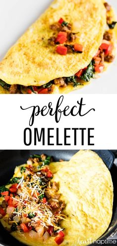All of the tips and tricks you need to make the perfect omelette! Soft, fluffy and super customizable. Add your favorite ingredients like veggies, meat or cheese and you'll have the best omelette ready in no time. Source by iheartnaptime Best Omelette, Healthy Omelette, Breakfast Omelette, Breakfast Desayunos, Veggie Omelette, Healthy Breakfast Recipes, Healthy Recipes, Cheese Omelette, Appetizers