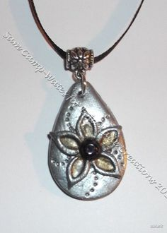 polymer clay and Amethyst pendant