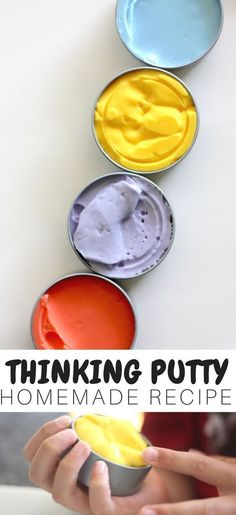 Thinking putty, therapeutic putty, stress relieving putty...whatever you call it, you can now make it yourself for less! This homemade thinking putty recipe is super easy and fun to make. An awesome tactile sensory experience, perfect for kids and adults.