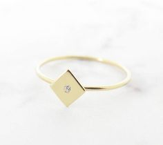 Gold Rhombus ring, 14K Solid gold ring, Delicate rhombus ring, Delicate diamond ring, Diamond rhombus ring, Minimal rhombus ring, Dainty