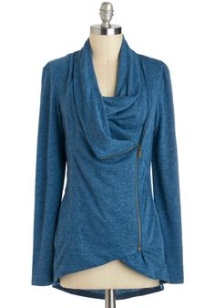 Airport Greeting Cardigan in Blue, #ModCloth  love this! Gives a little bit of the scarf look but without the big bulky scarf...because scarves are tacky and cover your assets. ;-p