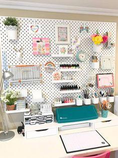 IKEA Skadis pegboard used for craft room organization makeover Pegboard Craft Room, Craft Room Organisation, Ikea Pegboard, Sewing Room Organization, Craft Room Storage, Home Office Organization, Kitchen Pegboard, Painted Pegboard, Pegboard Garage