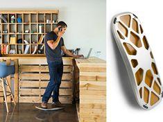 repose pied bureau moderne en métal et en bois