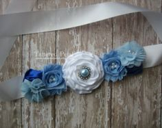 Handmade MATERNITY SASH / Blue and White/ Its by ATARAHSCREATIONS