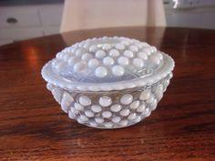Fenton Art Glass French Opalescent Hobnail Round Puff Trinket Vanity Box