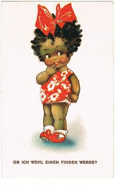 Cute Black Girl. Vintage Postcard found on Ruby Lane
