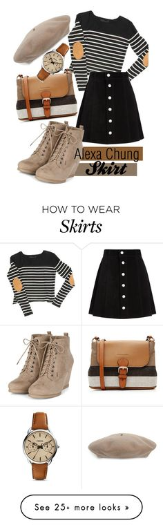"""""""Alexa Chung Skirt"""" by rachelsantos on Polyvore featuring AG Adriano Goldschmied, Burberry, Gucci, FOSSIL, women's clothing, women, female, woman, misses and juniors"""