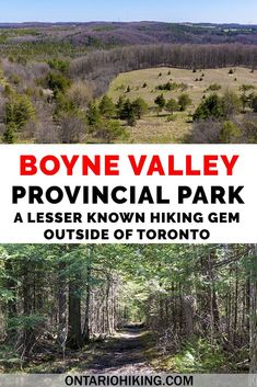 Boyne Valley Provincial Park has got it all: scenic lookouts, dense woodlands, and vast meadows. It features the Bruce Trail and its side trails for hiking. Ontario Provincial Parks, Go Hiking, Hiking Trails, Ontario Parks, Travel Guides, Travel Tips, Travel Destinations, Canadian Travel, Best Hikes
