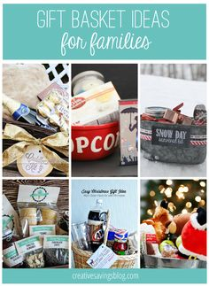 From movie night buckets, to snow day survival kits, you will love these creative gift basket ideas for families!