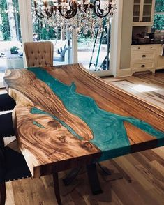 Epoxy Wood Table, Wooden Tables, Epoxy Table Top, Rustic Wood Tables, Diy Resin Table, Wood Slab Table, Diy Table, Resin Furniture, Painted Furniture