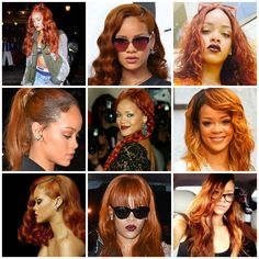 Anonymous said: Can you make collage with Rihanna outfits with ginger hair? Please :) Answer: Sorry, I only focused on her hair for the collage and completely forgot about the outfits :(, but here's...