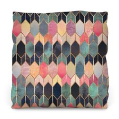 Colored Stained Glass Outdoor Throw Pillow