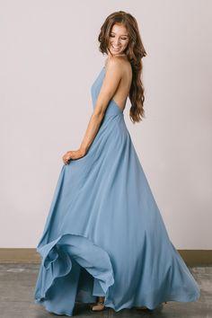 Emma Slate Flowy Maxi Dress