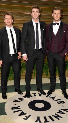 Luke, Liam and Chris Hemsworth. Oscars 2014