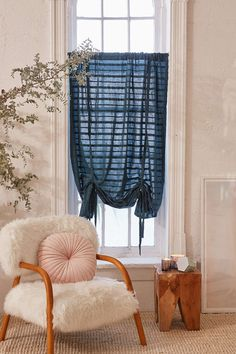 Seersucker Draped Shade Curtain