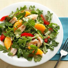 This citrus salad offers big flavor and nutrition with ingredients such as fresh oranges, sweet peppers, and lean turkey meat: http://www.bhg.com/recipes/healthy/dinner/healthy-salad-recipes/?socsrc=bhgpin010514turkeysaladwithoranges&page=10
