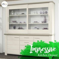 Shop from a wide range of display cabinets, dressers, and other eloquent kitchen furniture pieces Solid Wood Dresser, Large Dresser, Modern Dresser, Furniture Logo, Kitchen Furniture, Furniture Design, Kitchen Dresser Ikea, Dressers For Sale