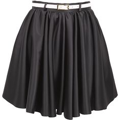 Black Mini Belted Skater Skirt ($32) ❤ liked on Polyvore