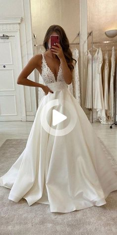 A-Line V-neck Lace Appliques Satin Wedding Dress Bridal Gowns - Mariage - Rustic Wedding Dresses, Best Wedding Dresses, Cheap Wedding Dress, Boho Wedding Dress, Lace Wedding, Gown Wedding, Wedding Ideas, Wedding Cakes, Wedding Rings