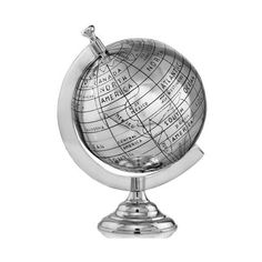 Modern Day Accents 8719 Mundo XL Old World Globe Silver Home Decor found on Polyvore featuring home, home decor, decor, accents, globes, silver, old world globe, old world home decor, silver home decor and silver home accessories