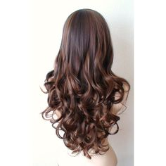 Brown Auburn Wig Long Curly Hairstyle Long Side Bangs Heat Resistant... (1.685 ARS) ❤ liked on Polyvore featuring beauty products, haircare, hair styling tools, hair, hairstyles, cabelo and curly hair care