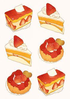 Illustration by k_hamsin Pixiv ID: 1041701 食べ物 ケーキ Cute Food Art, Love Food, Dessert Illustration, Chibi Food, Food Sketch, Cute Food Drawings, Watercolor Food, Food Painting, Food Illustrations