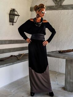Black & Light Brown Maxi Dress / Black and Brown von SynthiaCouture