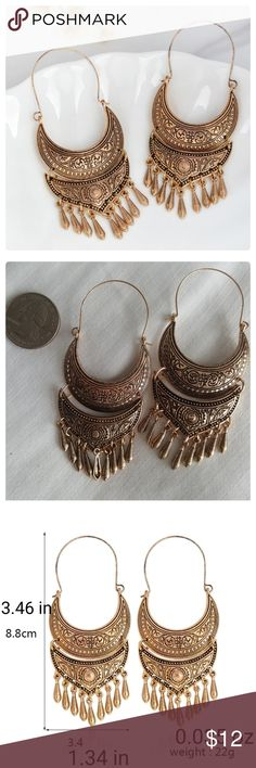 "JUST IN  Antique Gold Water Drop Tassel Earrings Metal: zinc alloy. Nickel,  lead and cadmium free. Weight: 0.035 oz. Size: 3.46"" x 1.34"".  Boho chic style. Jewelry Earrings"