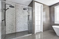 Come and drool in this marble bath with herringbone pattern hamptons style bathroom double shower with black tapware and marble herringbone tiles - Marble Bathroom Dreams Bathroom Floor Coverings, Shower Floor Tile, Bathroom Floor Tiles, Bathroom Colors, Bathroom Black, Classic Bathroom, Master Bathroom, Hampton Style Bathrooms, Big Bathrooms
