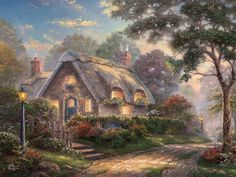Thomas Kinkade - Lovelight Cottage - Deluxe 750 Piece Puzzle