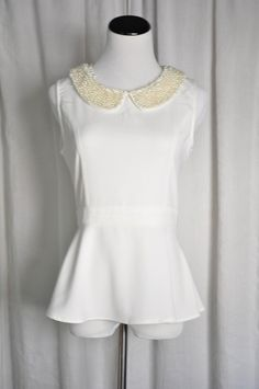 Pearl Beaded Peplum Top www.dressandbless.com