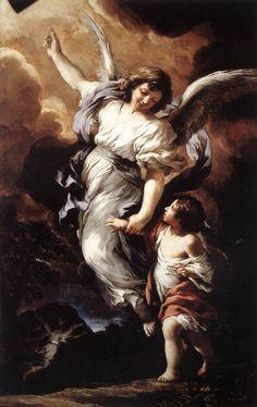 """""""The Guardian Angel"""" (1656) von Pietro Da Cortona (geboren am 1. November 1596, gestorben am 16. Mai 1669 in Rom), italienischer Maler und Baumeister des römischen Hochbarocks."""